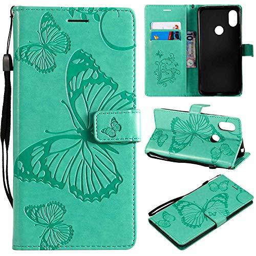 Ycloud PU Leder Tasche für Xiaomi Redmi S2 Cover aus Kunstleder Wallet Flipcase mit Standfunktion Kartenfächer Entwurf Grün Schmetterling Hülle für Xiaomi Redmi S2