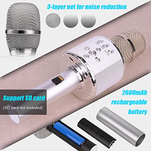 Verkstar Upgraded Wireless Bluetooth Karaoke Microphone with Flashing Colorful LED Lights, 4-in-1 Handheld Portable Party Machine Speaker Mic Christmas Gift for Android/iPhone/PC/Sony(Silver)