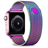 jwacct Compatible for Apple Watch Band 42mm 44mm, Adjustable Stainless Steel Mesh Wristband Sport Loop for iWatch Series 5 4 3 2 1,Iridescent
