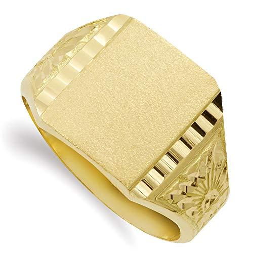 Sello oro 18k hombre detalle formas lateral borde tallado - Personalizable - GRABACIÓN INCLUIDA EN EL PRECIO