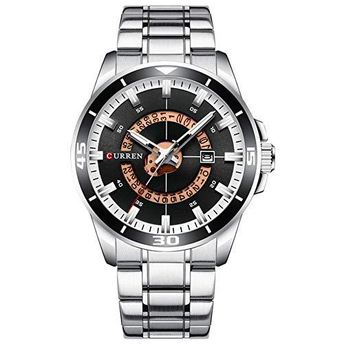 Relojpara Hombre Dial Azul Acero Inoxidable Relojes para Hombre Resistentes al Agua Relojes para Hombre Negocios de Cuarzo analógico