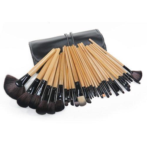 Davidsonne Professionnel Fond de Teint Poudre Blush cosmétiques Maquillage Brosse Ensemble de rouleau jusqu'Housse de transport (32 pièces)