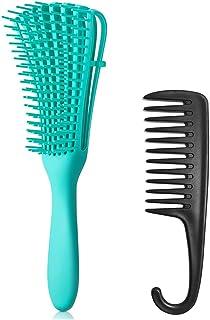 2Pack Detangling Brush, Detangler Brush, Hair Brush Comb for Natural,3a to 4c Curly/Kinky Wavy,Wet/Dry,Long/Thick Hair (Blue)