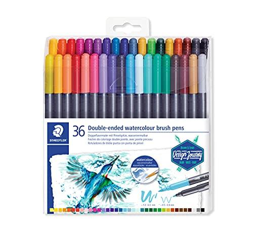 Canetas Brush Pen, Staedtler, Ponta Dupla Aquarelável, 3001 TB36, 36 Cores