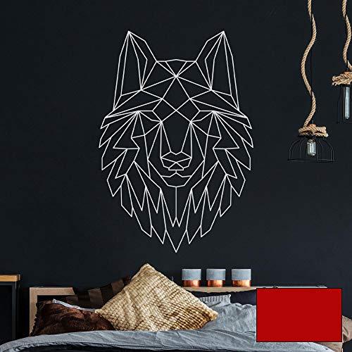 Wandtattoo geometrischer Wolf polygonaler Stil Wanddeko für Flur Schlafzimmer oder Wohnzimmer M2430 - ausgewählte Farbe: *kirschrot* ausgewählte Größe: *S - 50cm hoch x 35cm breit*