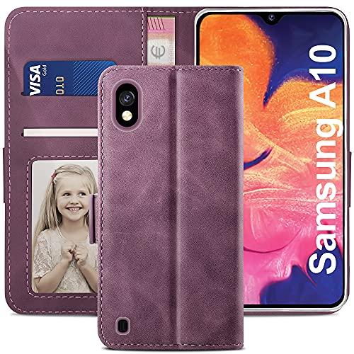 YATWIN Cover Samsung Galaxy A10, Flip Custodia Portafoglio in Pelle Premium Slot, Interno TPU Antiurto, Supporto Stand, Stile Libro e Chiusura Magnetica per Samsung Galaxy A10 Case Caso - Vino Rosso