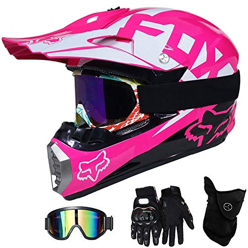 LSLVKEN Casco De Moto Casco De Motocross Niños Rosa, Full Face Off-Road...