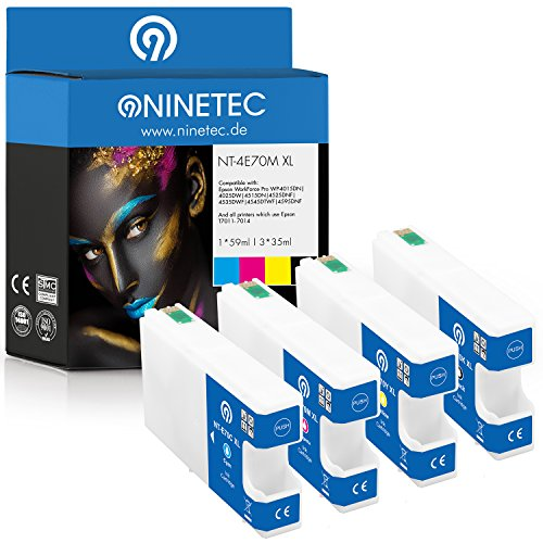 Farbset 4X Original NINETEC NT 4E70M Tintenpatronen kompatibel mit Epson T7011 T7012 T7013 T7014