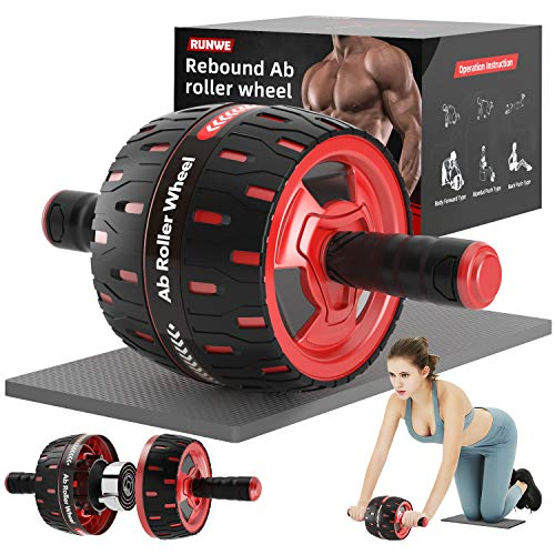 RUNWE Assistive Ab Roller Wheel for Abs Workout with Self-Rebound System and Knee Pad Used as Ab Wheel Exercise Equipmentfor Abdominal Exercise and Core Workout in Home Gym (Red)