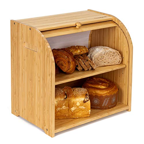 Goodpick Bamboo Bread Box - 2 Layer Large Bread Box - Countertop Bread Storage Bin - Smoothly Slide Door Rolltop Breadbox - Bread Boxes for Kitchen Counter, 15.0 in x 14.2 in x 9.8 in, Self Assembly