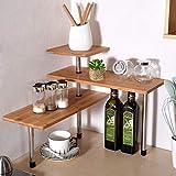 Estante esquinero de bambú de 3 niveles para especias, estantería de escritorio, estantería de exhibición, organizador para ahorro de espacio para salón, cocina, oficina