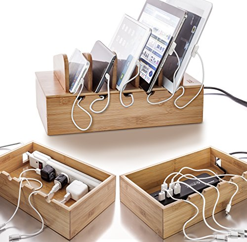 Prosumer's Choice Natural Bamboo Charging Station Rack for Smartphones and Tablets