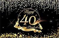 NEWメンズ・レディース・写真撮影の小道具パーティーの装飾用品のための10x7ft幸せの第40回の背景グリッターゴールデンChampangeスパークリング写真の背景の40歳の誕生日バナー
