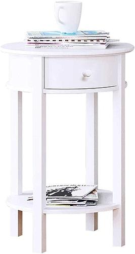 LXZ Homegift Table De Chevet Double Table De Chevet Blanche Nordique avec Table à Manger Blanche avec Tiroirs Design à Quatre Pattes Solide Salon Chambre à Coucher, H61.5cm