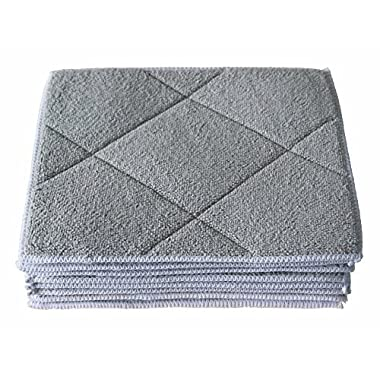 Gryeer Bamboo & Microfiber Dish Cloths with Sponge Pad, Soft and Super Absorbent Kitchen Cleaning Cloths, 8x10 Inch, Pack of 10, Gray