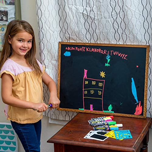 Chalk Markers by Vaci, Pack of 10 + Drawing Stencils + 16 Labels, Premium Liquid Chalkboard Neon Pens, Including Gold, Silver and Extra White Ink, Bullet or Chisel Reversible Tips