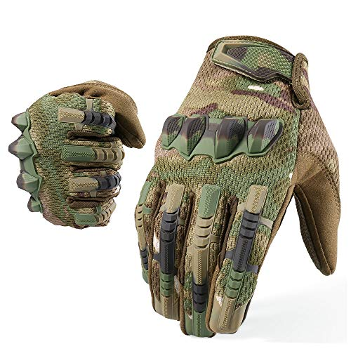 YOSUNPING Motorcycle Tactical Full Finger Gloves Touchscreen Rubber Guard Protection Gloves for Airsoft Paintball Hunting Hiking Military Army Cycling Bike Motorbike Riding Climbing Camping Camo L