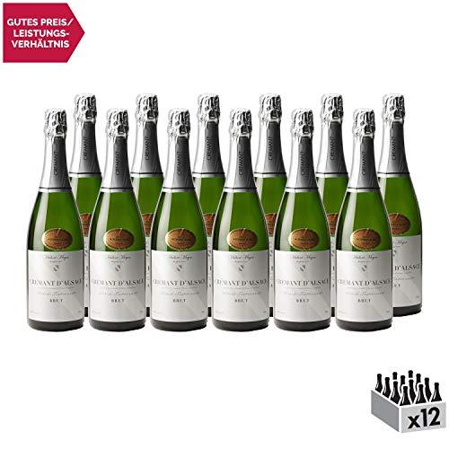 Crémant d'Alsace Weißwein - Hubert Meyer - Sekt - g.U. - Elsass Frankreich - Rebsorte Pinot Blanc - 12x75cl