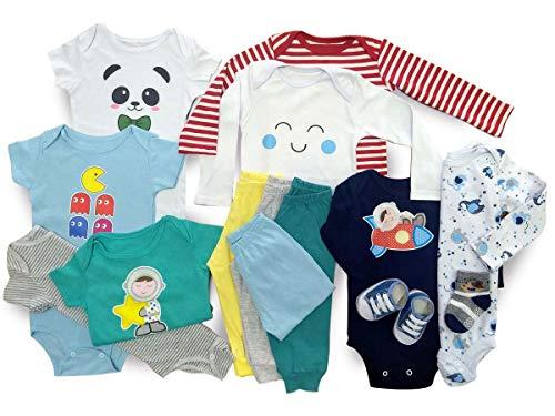 Kit Roupa De Bebe Maternidade 14 Pçs Enxoval Body E Mijão Meninos Tamanho:P