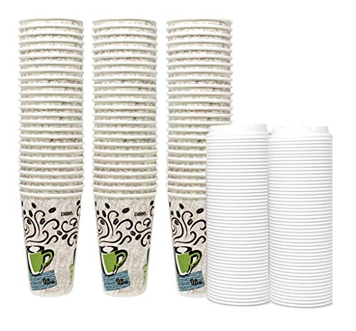 Dixie Perfectouch Insulated Paper Hot Cup, Coffee Haze Design, 16 oz, 75 Cups Plus 50 White Lids
