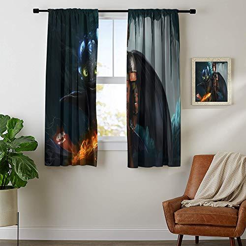 Cortinas opacas de tela duradera de 72 x 63 cm, lavables a máquina con bolsillo para barra, con ojales de Dra-gon