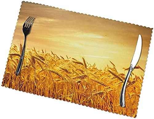 Impresión del Campo De Trigo para Las Esteras De La Mesa De La Mesa De Comedor Fácil De Limpiar Limpiable Tapetes De Cocina Resistentes Al Calor para La Decoración del Hogar De Mesa