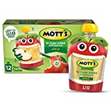 Mott's No Sugar Added Applesauce, 3.2 oz clear pouches (Pack of 12)