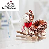 Techstyleuk Animal Baby Rocking Horse Children Toy Seat Giraffe with 32 Songs Ride Wood UK