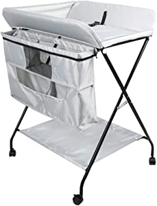 Baby Changing Table Silver Folding for Infant Newborn Laundry Hamper  Portable 2-in-1 Diaper Station and Storage Unit  75x61x101cm