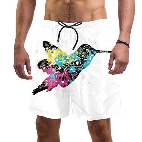 LORVIES Heren Kolibrie Kleurrijke Vogel Graffiti Beach Board Shorts Snelle Droge Zwemmen Trunk,L