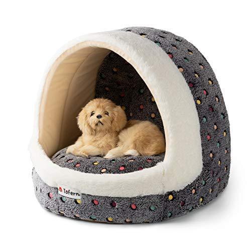 Tofern - Cama de forro polar para cachorros, perros pequeños, medianos, gato, para dormir, casa iglú, antideslizante, cálida, lavable, estampado de lunares coloridos