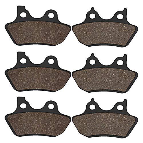 Cyleto Front Rear Carbon Fiber Brake Pads for Harley Davidson Touring FLHT/FLHTi Electra Glide Standard 00-07 V-Rod 02-04 FXDXi Super Glide Sport 04-05
