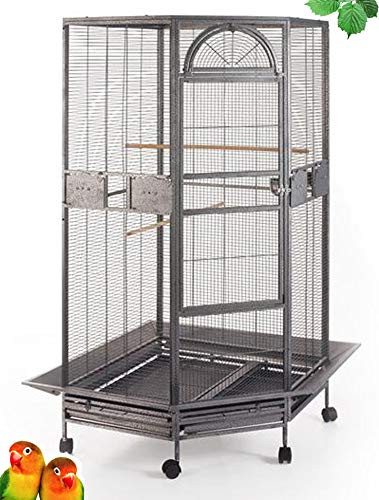 """Extra Large Corner Parrot Bird Wrought Iron Cage - r30"""" X 64""""H - 4 Colors Available (Black Vein with Skirt)"""