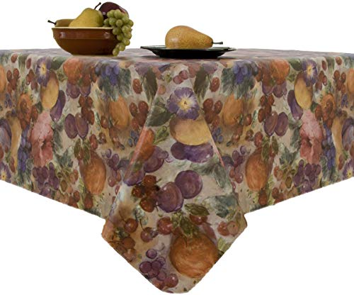 Fruitasia Fruit and Floral Print Stain Resistant and Spill Proof with Flannel Backing Vinyl Tablecloth for Spring/Summer/Party/Picnic, Multi, 90' Round