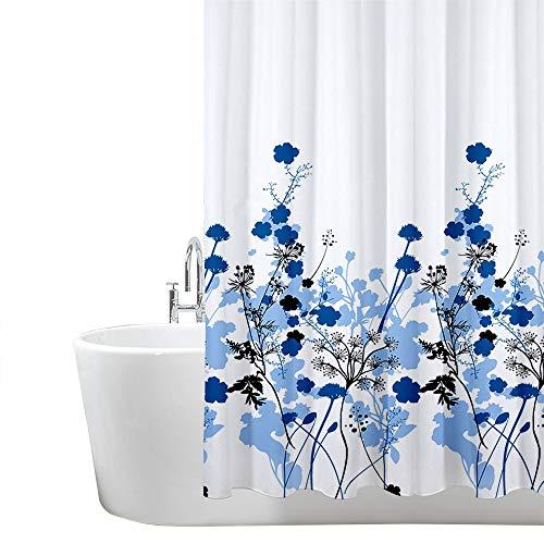 ANSIO - Cortina de ducha, poliéster, Patrón de flores - Azul, 180 x 180 cm