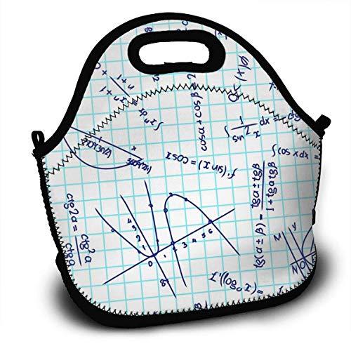 Handtasche, trigonometrische Funktion Mathematische Formel auf Papier Lunch Tragetaschen Lunch Bag Lunchboxen Handtasche Boys Lunch Container 27,5 x 29 x 14,5 cm