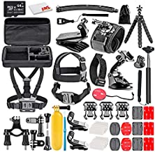 50-in-1 Action Camera Accessory Kit Bundle with - 64GB Micro SD Card + Microfiber Cleaning Cloth - Compatible with GoPro Hero 8, 7, 6, Max, Session, Insta360, DJI Action, AKASO Apeman, and More