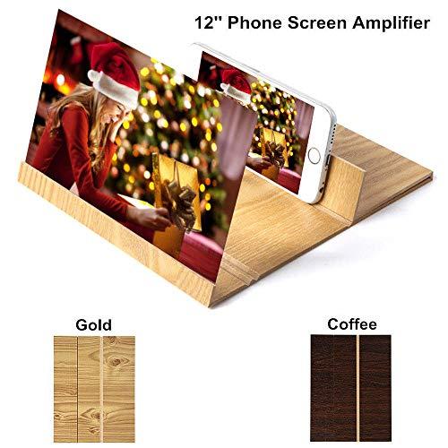 3D Estereoscópico Expansión 12 Pulgadas de Escritorio de Madera Soporte de Video Amplificador de Pantalla del Teléfono Móvil Titular de Montaje Lupa (Oro)