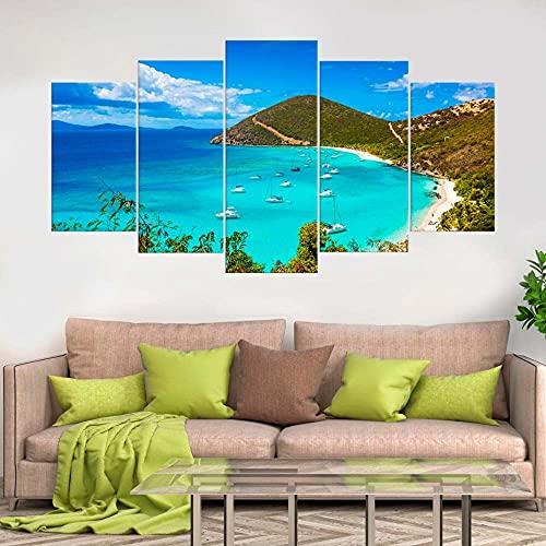 KOPASD So Crazy Art - Islas Virgenes Cuadros Decoracion de Pared 5 Piezas Modernos Mural Fotos para