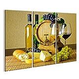 bilderfelix® Bild auf Leinwand Wein und Käse auf dem