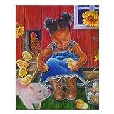 Impresión artística de pared de chica afroamericana en decoraciones de pared de madera de granja de ...