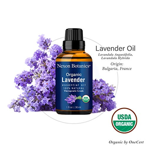 Organic Lavender Essential Oil 30 ml - USDA Certified Natural Therapeutic Grade Lavender Oil - Great for Aromatherapy and Diffuser - Blend of Pure Lavandula Angustifolia and Hybrida - Nexon Botanics