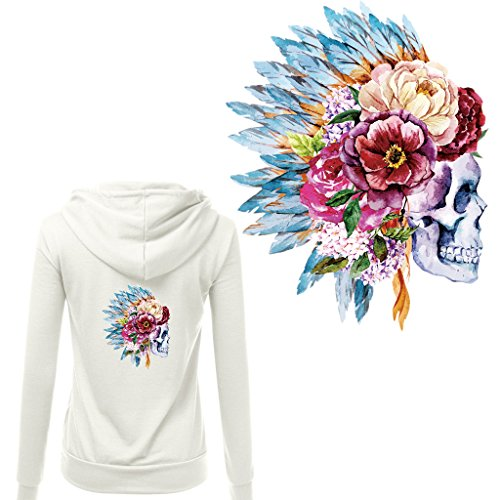 Dabixx - Toppa da applicare con motivo a teschio, con motivo floreale, per vestiti, per fai da te