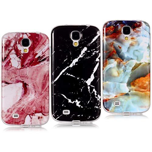 YKTO Custodia Samsung Galaxy S4 I9500 / I9505 2013 Marmo Effetto 3D Graficamente Caso Silicone Cover Belle [3 Pack] Custodia Ultra Sottile Anti Scivolo Colore Scuro