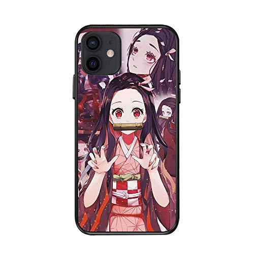 JINGJINGJIAYOU Demon Slayer Case para iPhone 11 Pro MAX 12 7 8 Plus X XR XS MAX Three Funds Newest Japan Anime TPU Funda-Asesino de Demonios_iphonex / XS