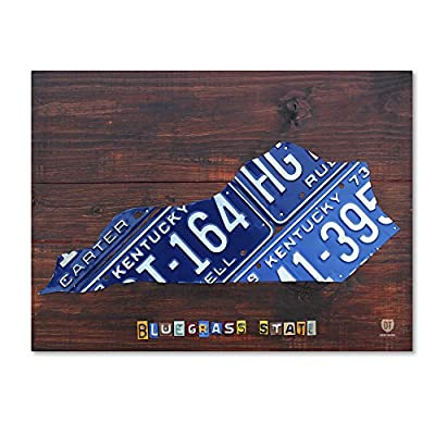 Trademark Fine Art ALI1314-C1419GG Kentucky License plate Map by Design Turnpike