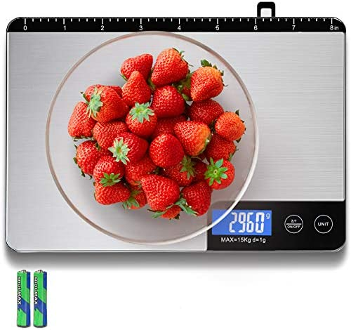 Food Scale Kitchen Scale Weight Grams and Oz Accuracy 1g 0 1oz 33lbs Capacity Professional Digital product image