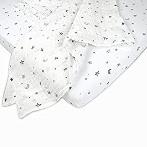 American Baby Company New Baby Welcome Kit with Muslin Cotton Swaddle Blanket and Fitted Portable/Mini-Crib Sheet, Grey Stars and Moons, for Boys and Girls