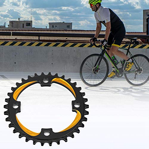 SALUTUYA High Intensit Strong Compatibility Bike Chainring Strong Axial Strength 34T 104Bcd, for Most Of 34T Single Speed Mountain Bikes Easy To Install(Black gold)