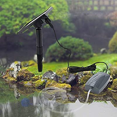 garden mile® Solar Powered Submersible Garden Pond Oxygenator Air Pump Oxygen Aerator Pool Aquarium Tropical Fish Tank Water Fountain Hydroponics 120 Litres Hourly Flow Rate